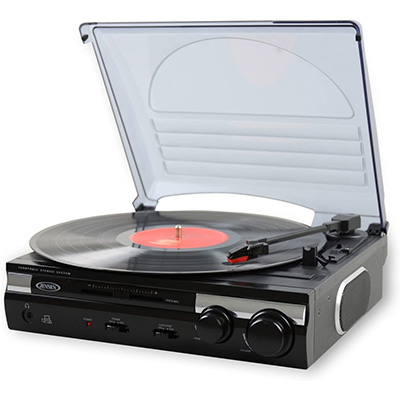2. Jensen JTA-230 3 Speed Stereo Turntable with Built in Speakers