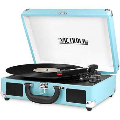 3. Victrola VSC-5550BT-TQ 3-Speed Turntable with Speakers