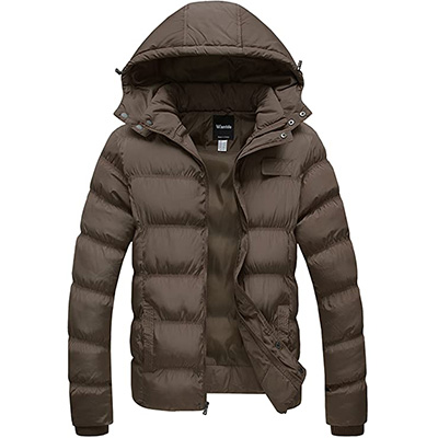 6. Wantdo Men's Winter Puffer Jacket with Removable Hood